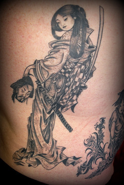 Geisha Samurai Tattoo by Powder at The R