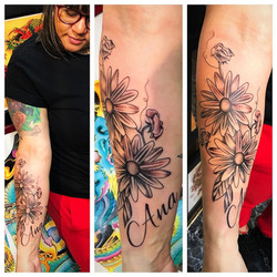 Daisys and Sweat Peas Tattoo by Powder a