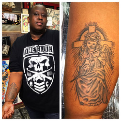 Angel with Cross Tattoo by The Red Parlo
