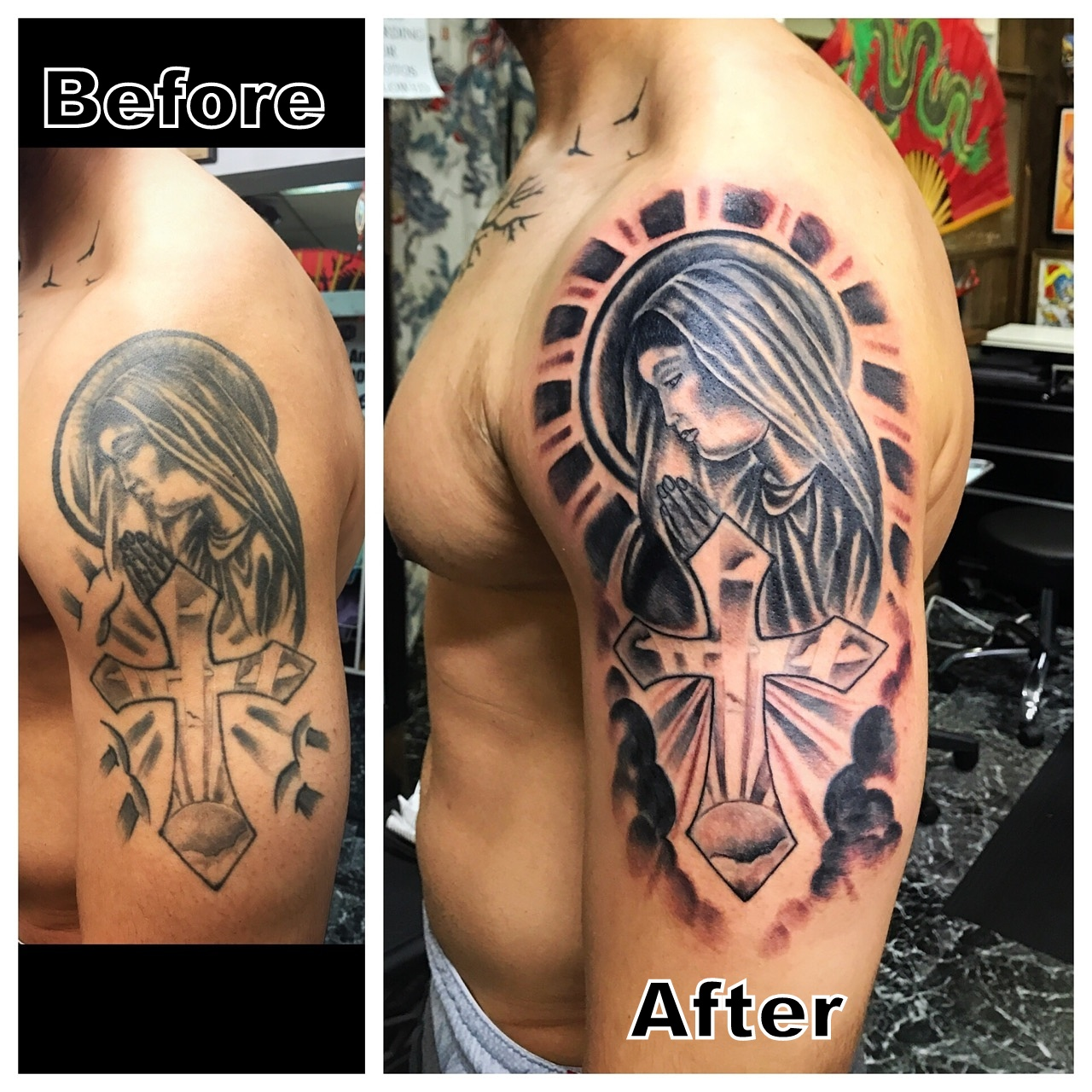 Tattoo Restoration Mary with Cross Tatto