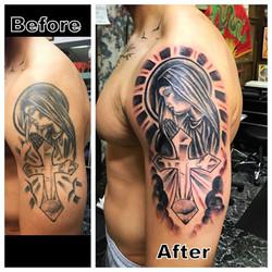 Tattoo Restoration Mary with Cross Tatto