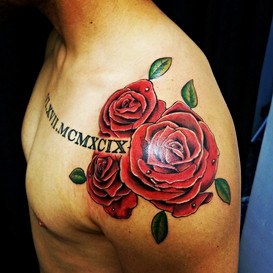 Rose and Roman Numerals Tattoo by Jorge