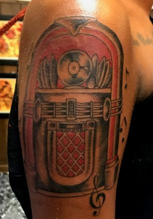 Juke Box Tattoo Designs for Dark Complex