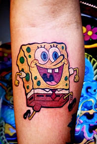 Sponge Bob Tattoo by The Red Parlour Tattoo by Jorge Woodside Queens NY NY NYC Tattoo Animation.jpg