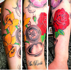 Compass Tattoo with Roses by The Red Par