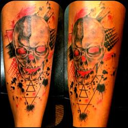 Trash Polka Tattoo Skull Dark Complexion