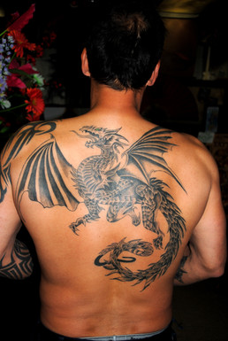 Gothic Dragon backpiece Tattoo by The Re