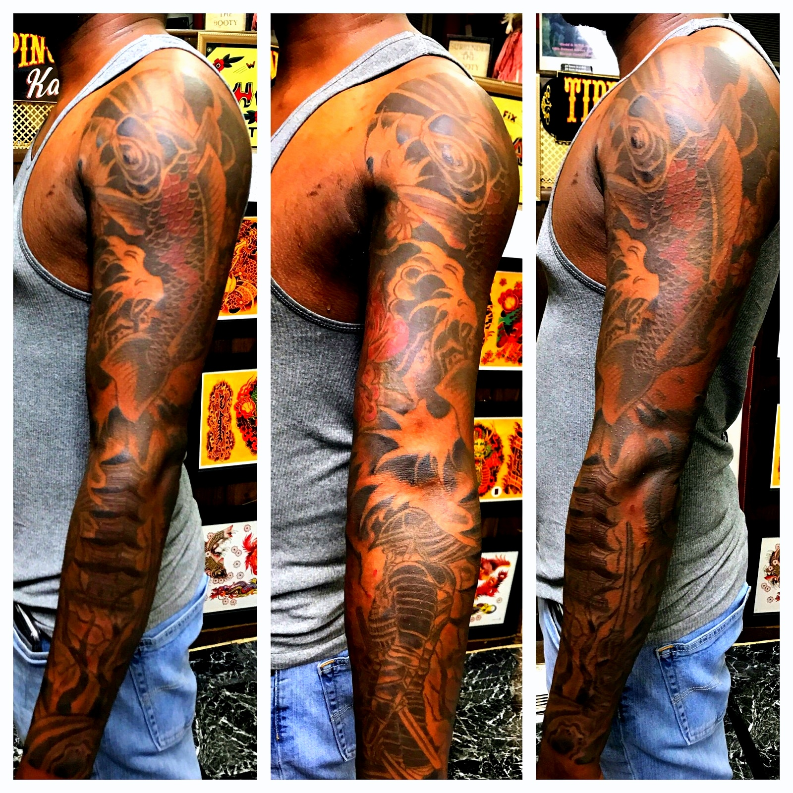 Japanese Sleeve Tattoo Dark Complexions