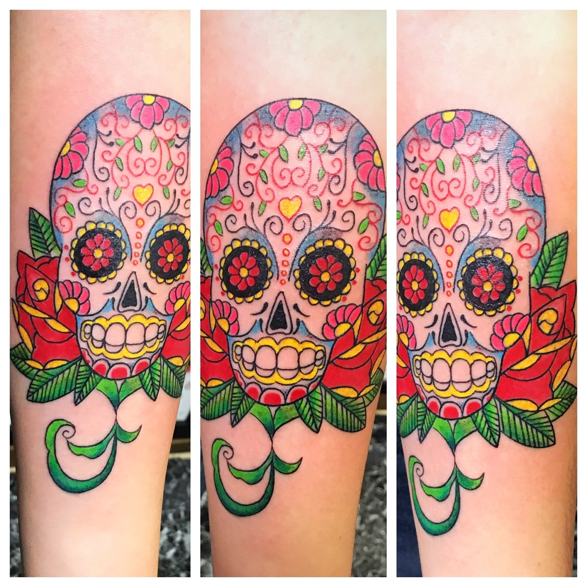 Sugar Skull Tattoo by The Red Parlour Ta