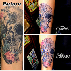 Tattoo Restoration Skull with Flowers by