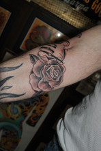 Rose Tattoo in Black  Gray Memorial Tattoo for Dad by The Red Parlour Tattoo & Piercing Woodside Queens NY NY NYC Memorial Tattoos (2).JPG