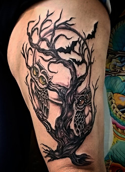 Owls Tattoo by The Red Parlour Tattoo Woodside Queens NY NY NYC Custom Tattoo Studio.jpg