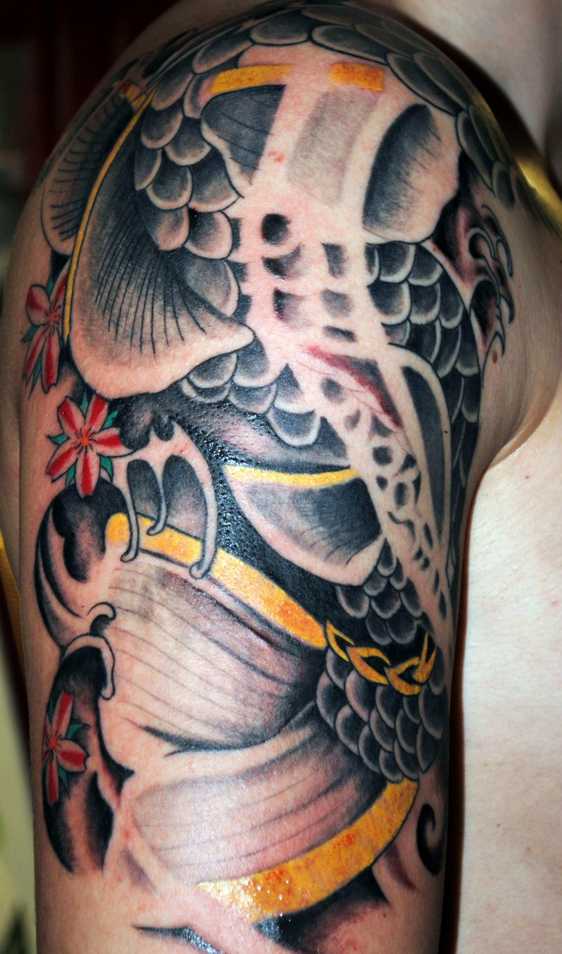 Japanese Dragon Half Sleeve Tattoosby Po