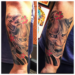 Hannya Mask Tattoo by The Red Parlour Ta