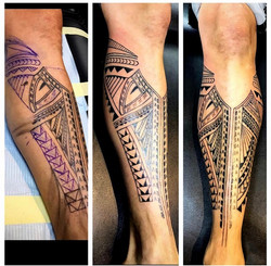 Polynesian Tattoo on Shin by The Red Par