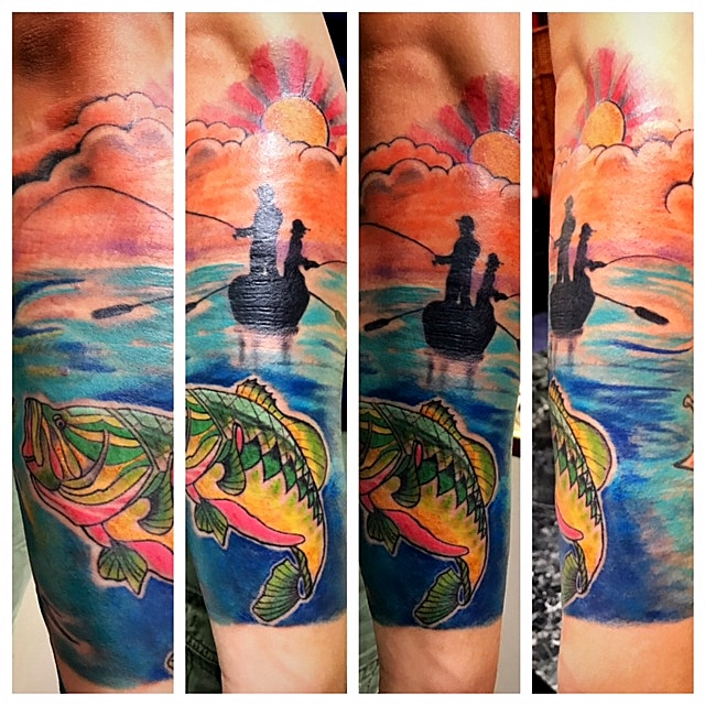 Fishing Tattoo by The Red Parlour Tattoo