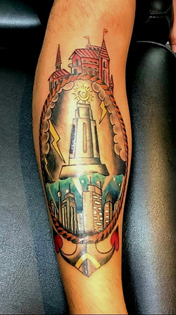 Anchor Lighthouse Tattoo by The Red Parl
