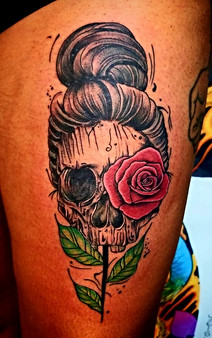 Skull and Rose Tattoo by The Red  Parlour Tattoo by Jorge Woodside Queens NY NY NYC Custom Tattoos.jpg