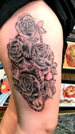Roses and Pearls Tattoo by The Red Parlo