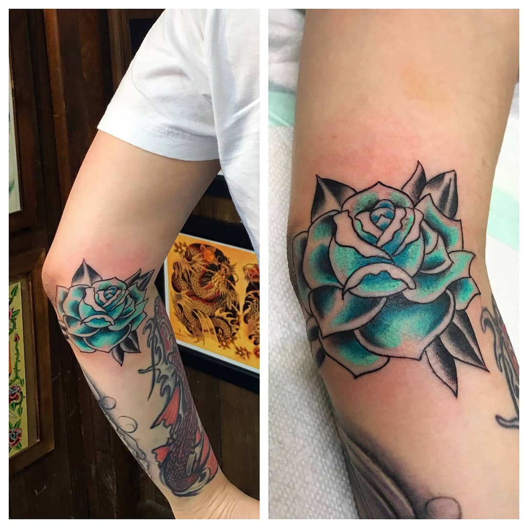 Blue Rose Tattoo by The Red Tattoo Woods