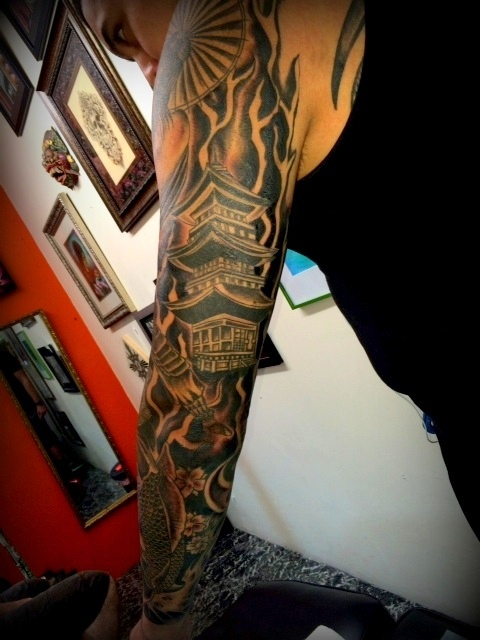 Pagoda Tattoo Sleeve by The Red Parlour