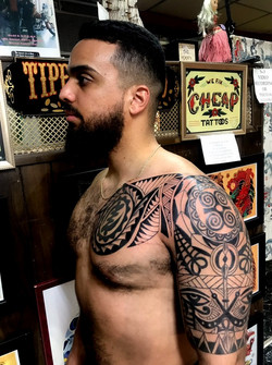 Polynesian Tattoo Style with Symbols by