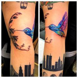 Humming Bird NYC Skyline Tattoo by The R