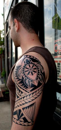 Polynesian Turtle Tattoo Half Sleeve by