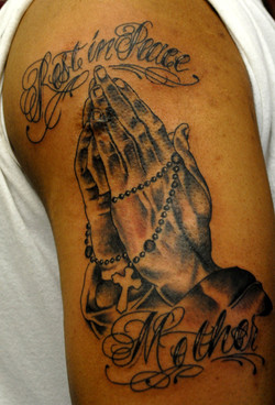 Praying Hands Tattoo by The Red Parlour