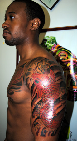 Koi Fish Half Sleeve Tattoo for Dark Com