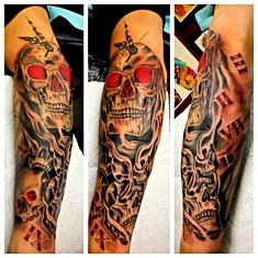 Skulls & Clock Half Sleeve Tattoo by Pow