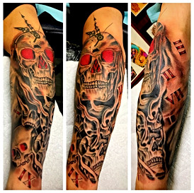 Skulls & Clock Half Sleeve Tattoo by Pow