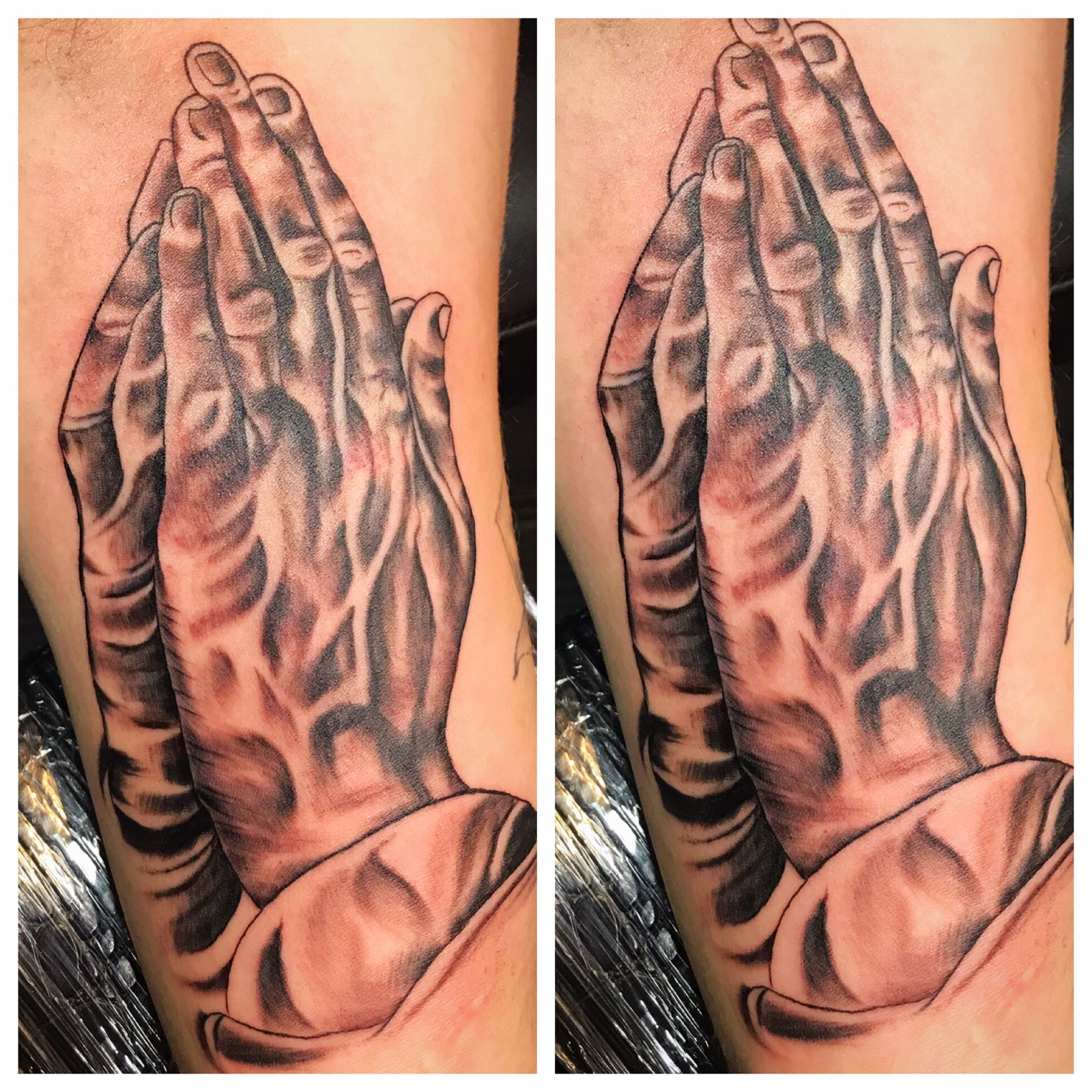 Praying Hands Tattoo by Powder at The Re