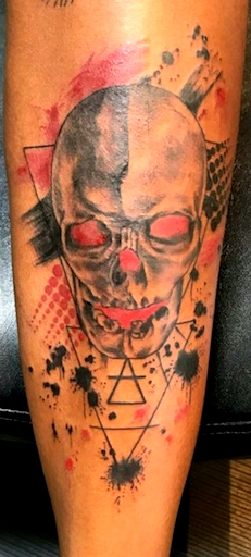 Rrash Polka Skull Tattoo by The Red Parl