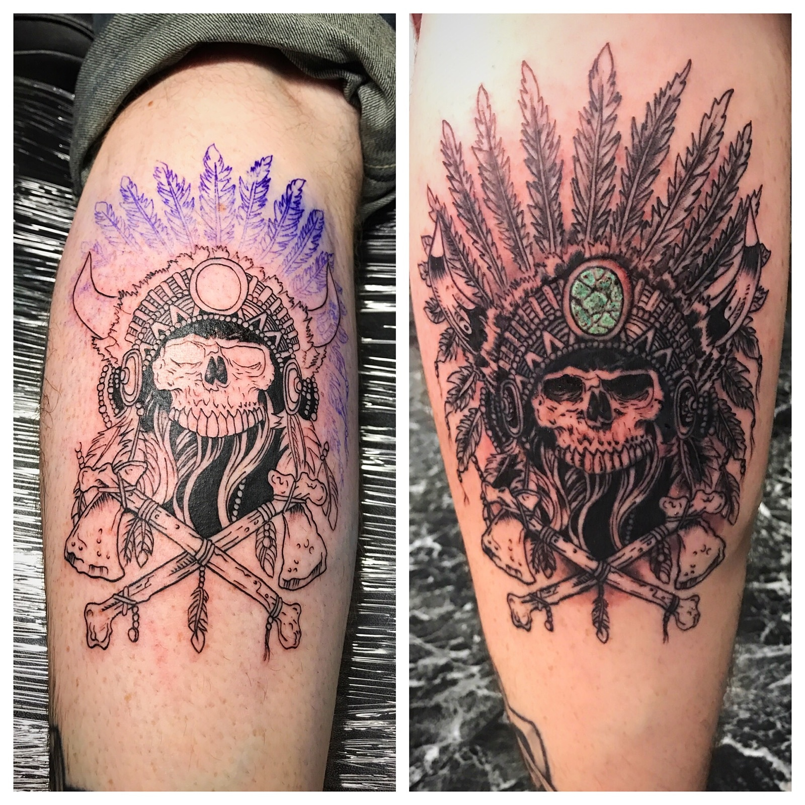 Indian Chief Skull Tattoo by The Red Par