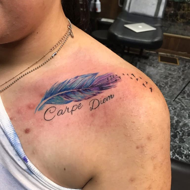 Feather Small Birds & Carpe Diem Tattoo