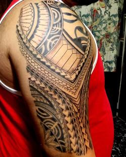 Polynesian Tattoo Half Sleeve with Mask