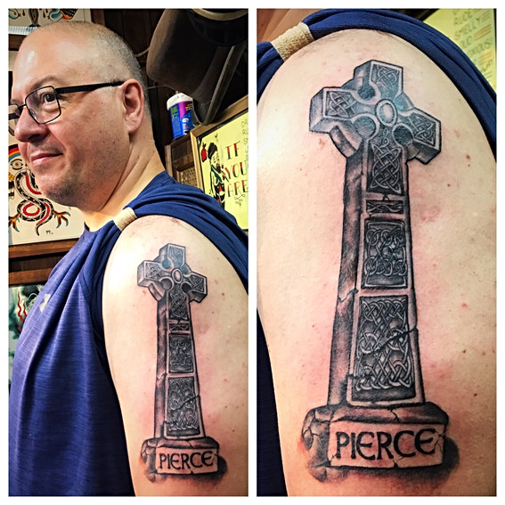 Celtic Cross Memorial Tattoo by Powder a