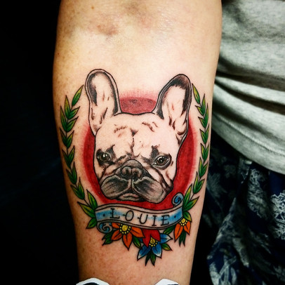 French Bulldog Tattoo by Jorge The Red P