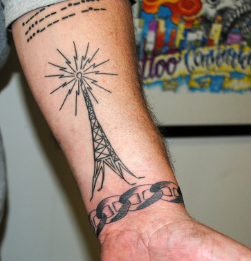 Radio Tower Morse Code Tattoo & Chain Link Wristband by The Red Parlour Tattoo & Piercing Woodside Queens NY NY NYC's Custom Tattoo Studio est. 1997.JPG