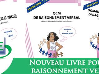 Livre : nouvelle édition en Février 2019 pour le QCM de Raisonnement Verbal (EN, FR et IT) - Disponi