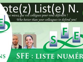 Le SFE sera la liste n° 7 et nous comptons sur vous !