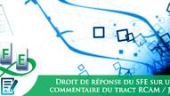 Droit de réponse du SFE sur un commentaire public au tract RCAM / JSIS