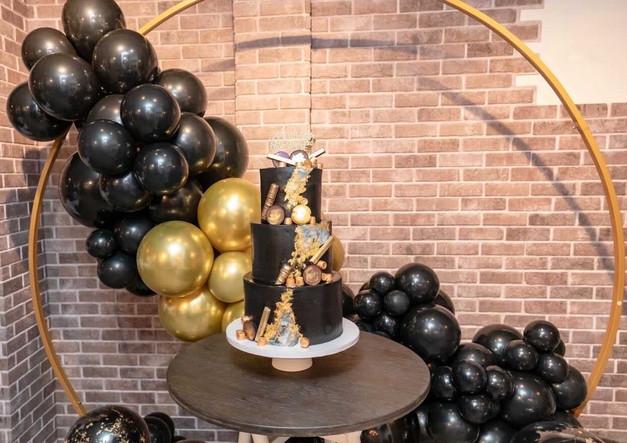 Organic Hoop Balloon Arch with custom cake