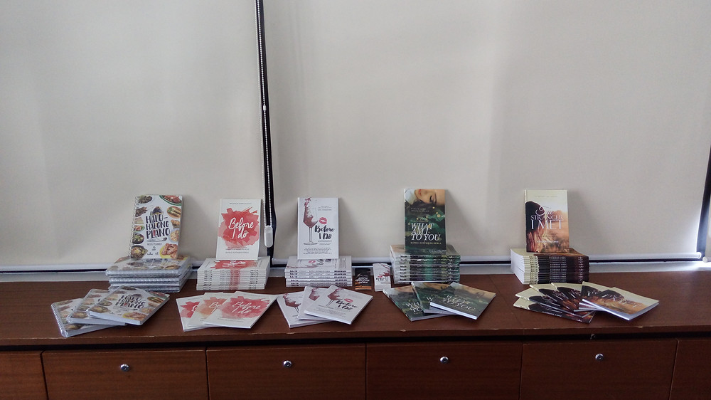 Our books on display during the launch