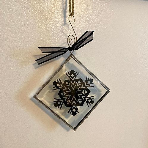 Ornament Glass Medium Snowflake Black