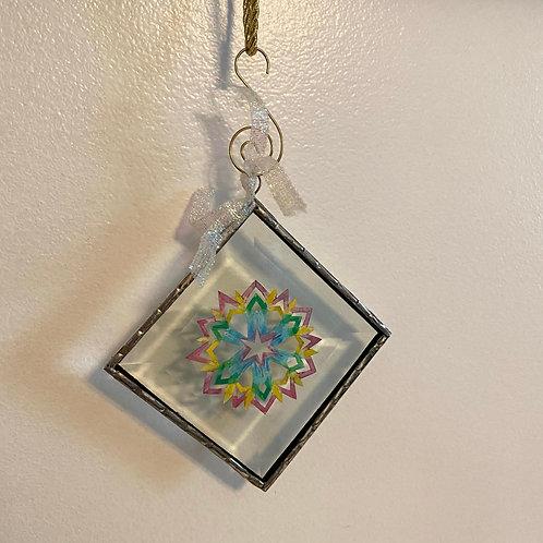 Ornament Glass Medium Snowflake Multicolor