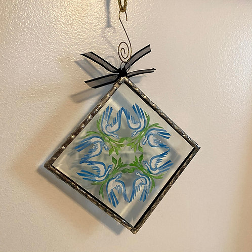 Ornament Glass Large Doves Blue