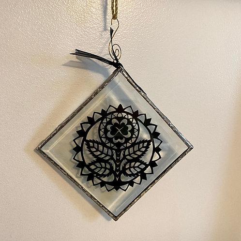Ornament Glass Xlarge Flower Black