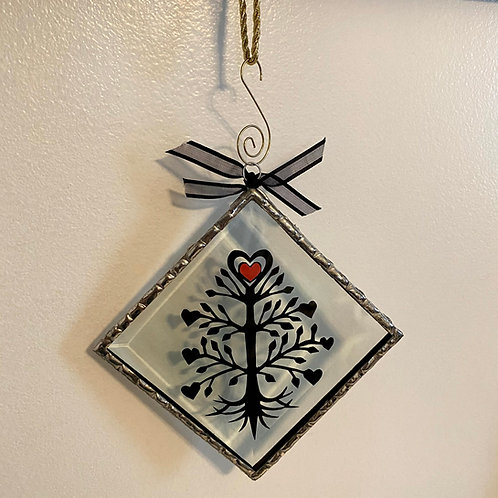 Ornament Glass Large Tree Black